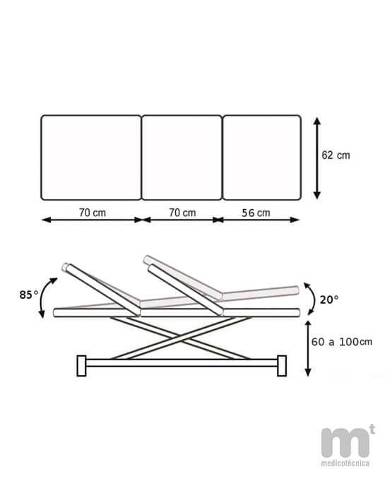 Medidas y posiciones de la camilla ginecológica 330R