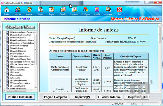 Valores analíticos del Bionic Health Scanner