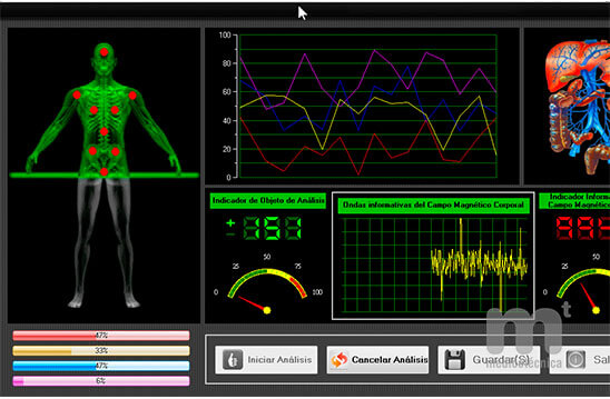 Avanzado software Bionic Health Scanner que muestra valores analíticos